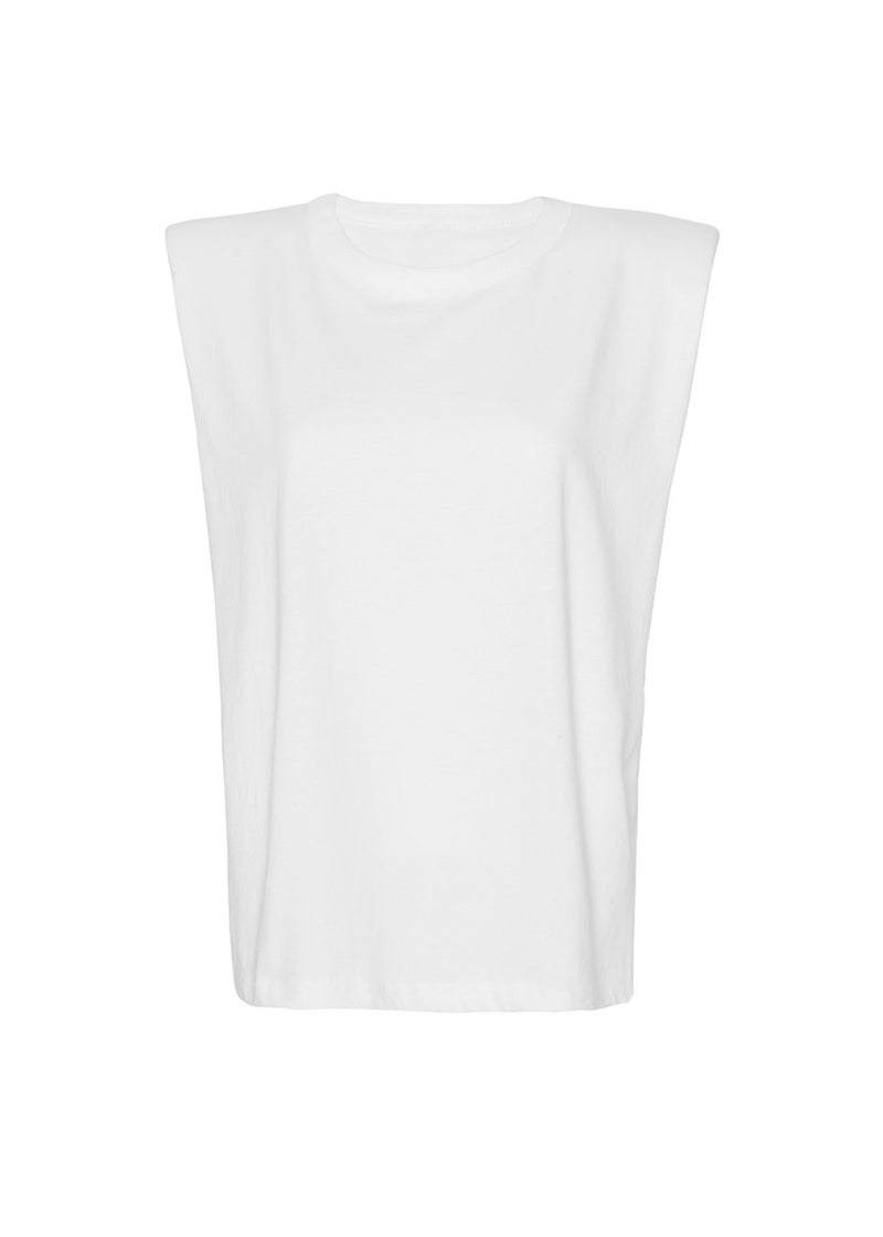 Eva Padded Shoulder Muscle T-Shirt in White Top Forming
