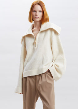 Evira Cropped Wool Sweater by Nanushka in Creme Sweater Nanushka