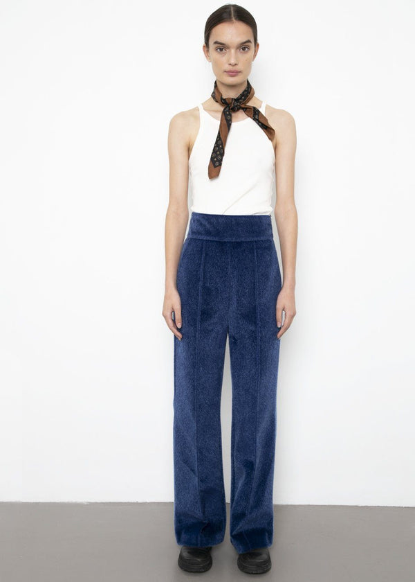 Faux Calf Hair Trousers in Blue Pants VanNzilL