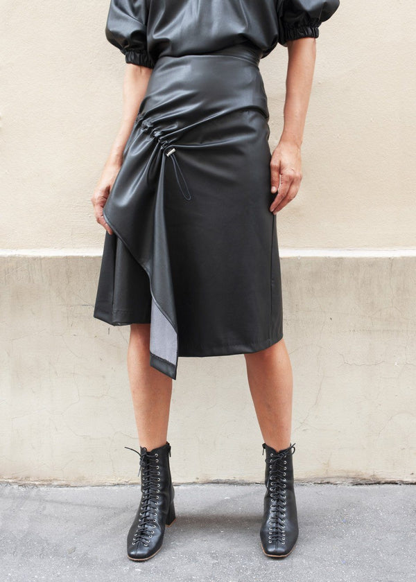 Faux Leather Asymmetrical Skirt with Ruched Front in Black skirt ready 2 wear