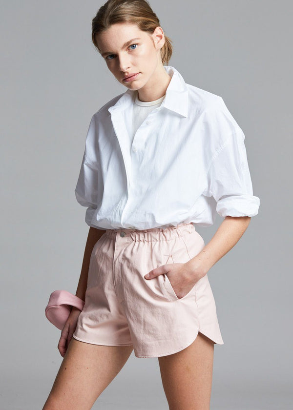Faux Leather Boxer Shorts in Rosewater Shorts verbena