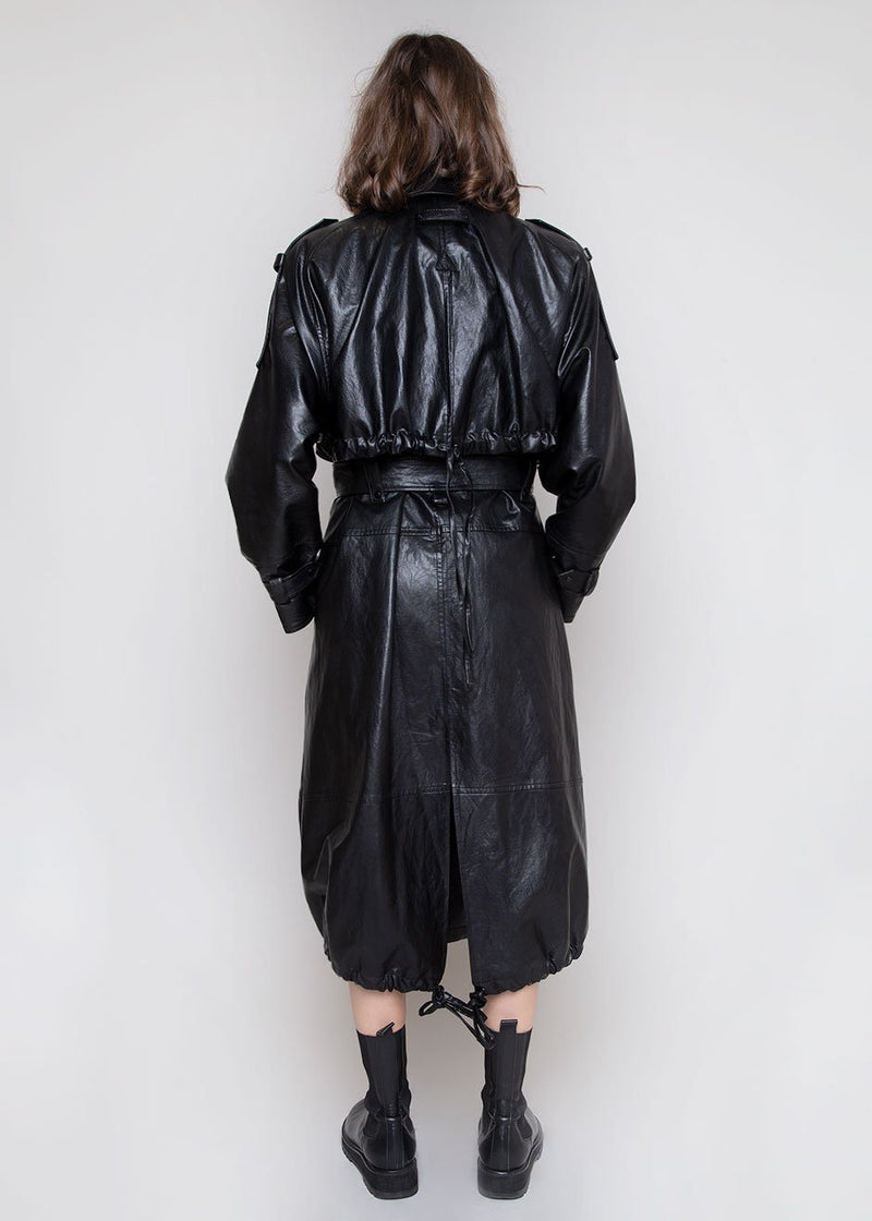 Faux Leather Coat by Low Classic in Black Coat Low Classic