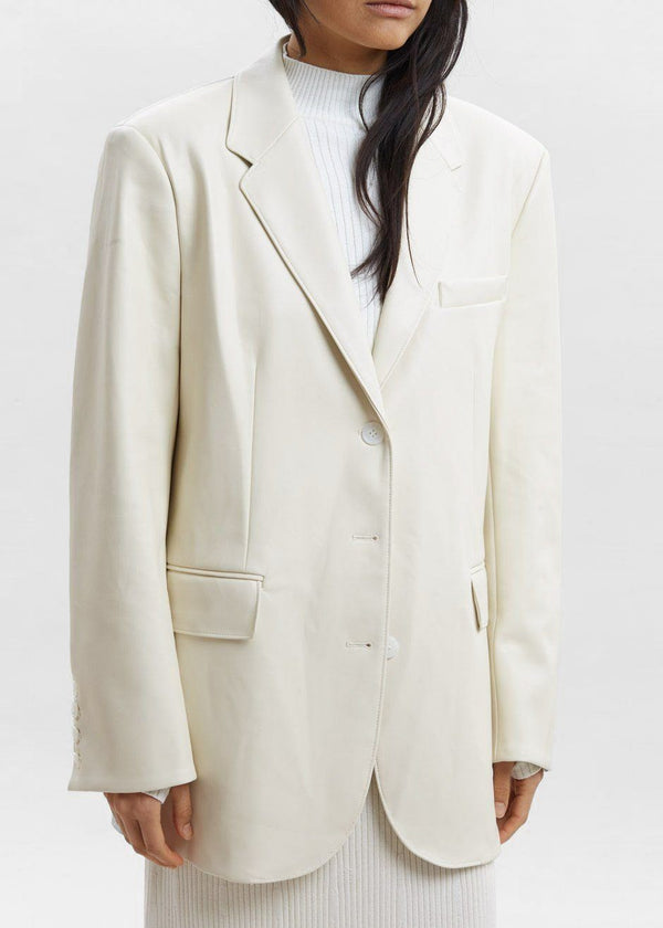 Faux Leather Flap Pocket Blazer in Vanilla Blazer Paper Moon