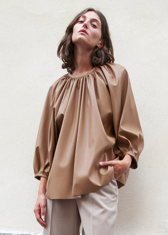 Faux Leather Gathered Neck Top in Camel Brown Top Forming
