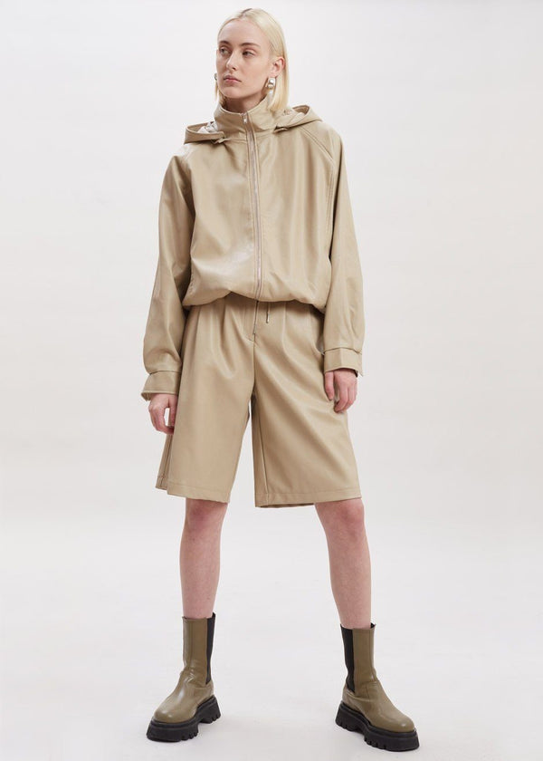 Faux Leather Hooded Jacket in Clay Jacket The Frankie Shop