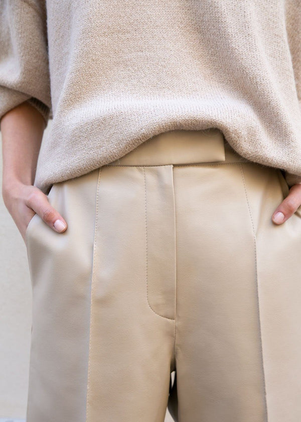 Faux Leather Pants in Dark Beige Pants Blossom