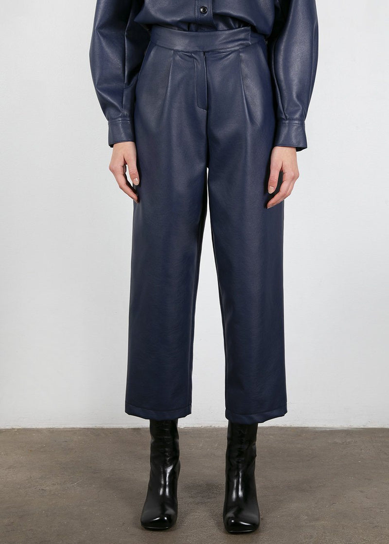 Faux Leather Pants in Grey Blue Pants The Frankie Shop