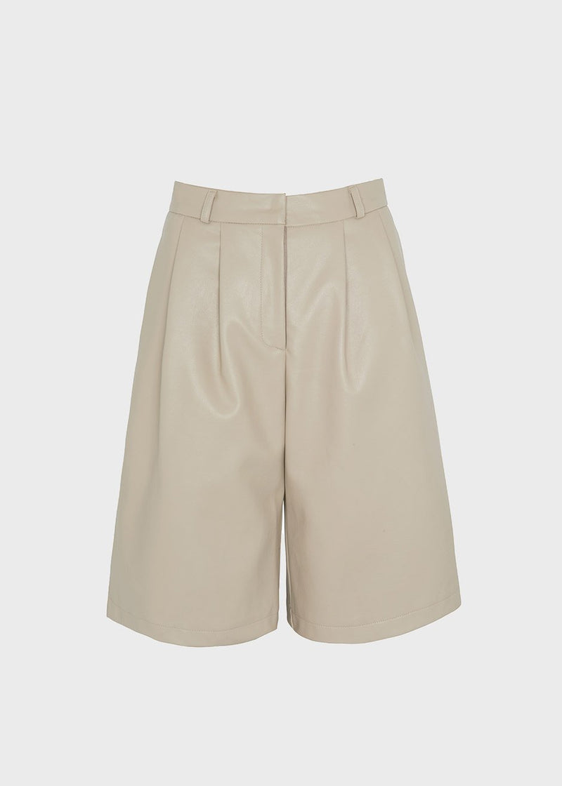 Faux Leather Pleat Front Bermuda Shorts in Clay Shorts The Frankie Shop