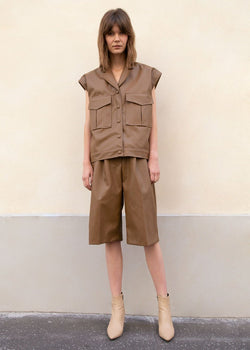 Faux Leather Pleated Trouser Shorts in Brown Shorts The Frankie Shop