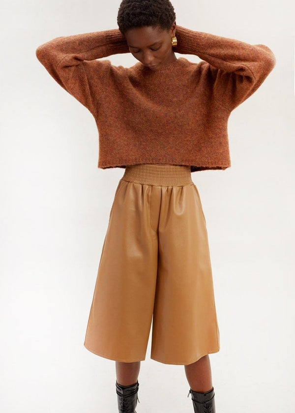 Faux Leather Smocked Waist Long Shorts in Bourbon Shorts Feffer