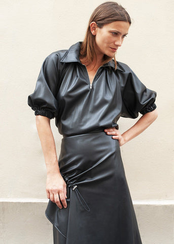 Faux Leather Zip Top with Puffy Sleeves in Black Top Ready 2 Wear