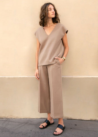 Flat Front Cropped Trousers in Camel Pants the wave