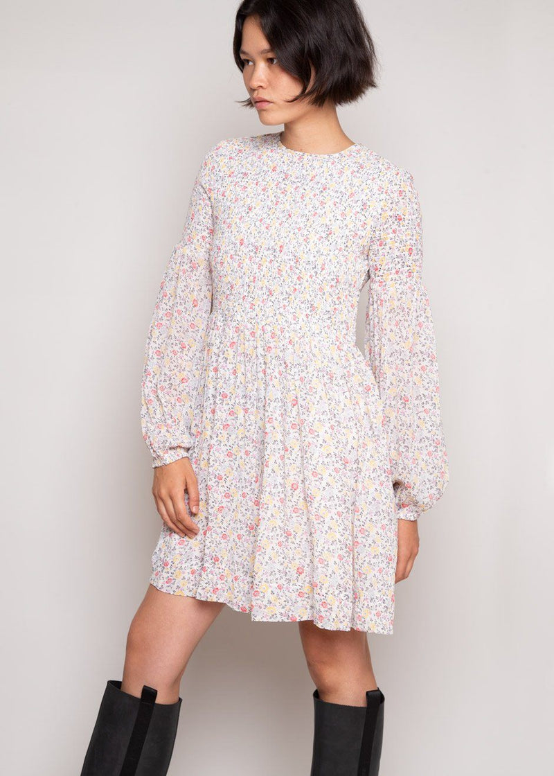 Floral Georgette Mini Dress by GANNI in Egret Dress Ganni