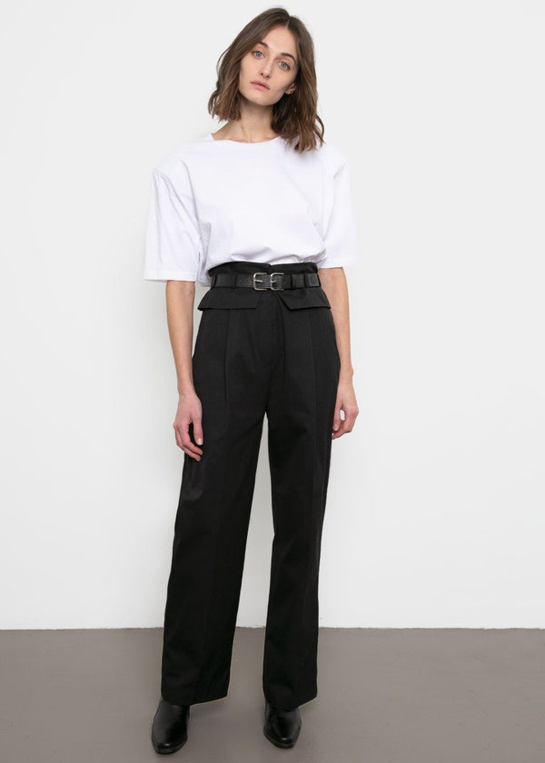 Foldover Belted Pants- Black Pants Ready 2 Wear