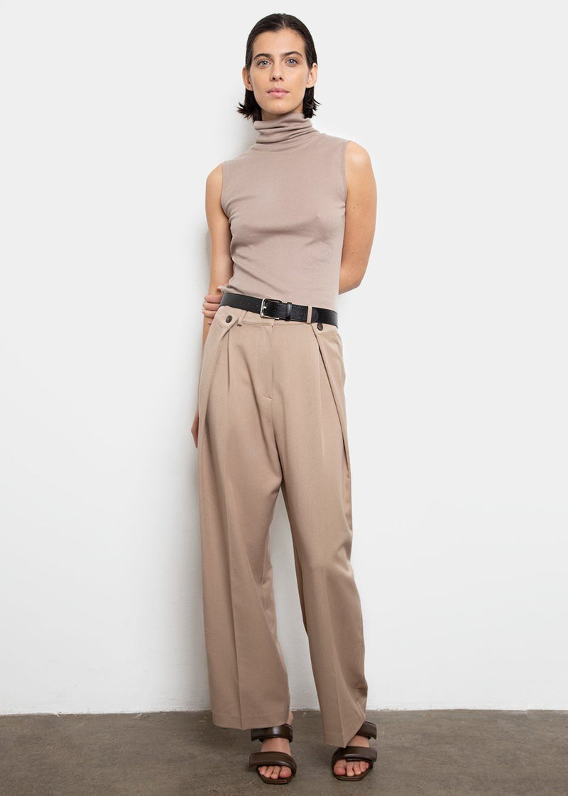Foldover Button Suit Pants- Tan Beige Pants Stage