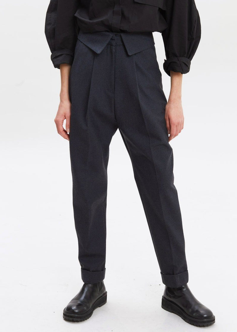 Foldover Waist Tapered Trousers in Dark Slate Pants MOS EDITION