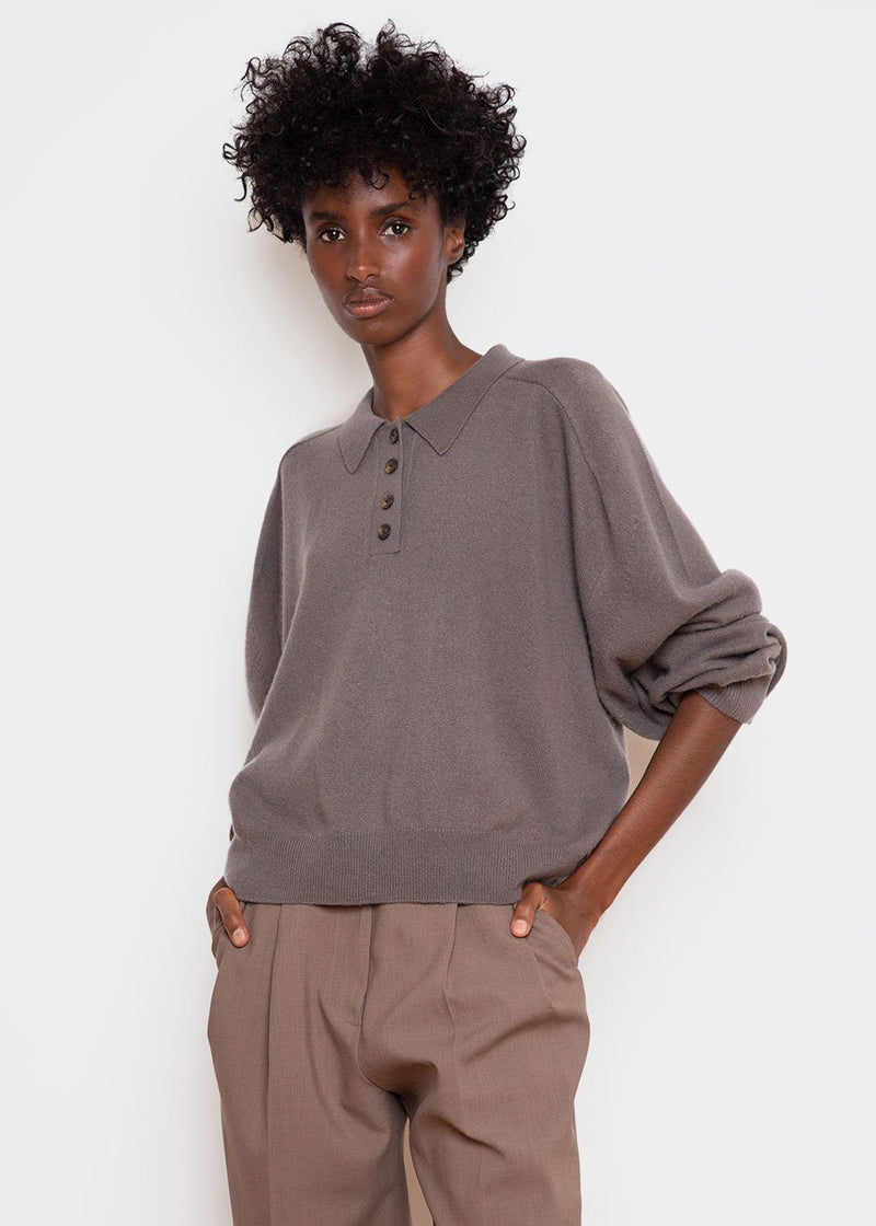 Forana Cashmere Knit Polo Sweater by Loulou Studio in Taupe Sweater Loulou Studio
