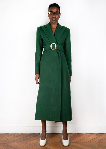 Forest Green Wool Blend Belted Coat by Materiel Tbilisi coats Materiel Tbilisi