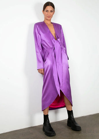 Front Tie Silk Dress in Violet by Materiel Tbilisi Dress Materiel Tbilisi