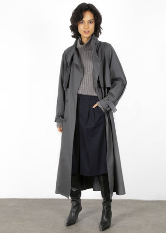 Funnel Neck Trench Coat in Anchor Grey trench Earl Grey People