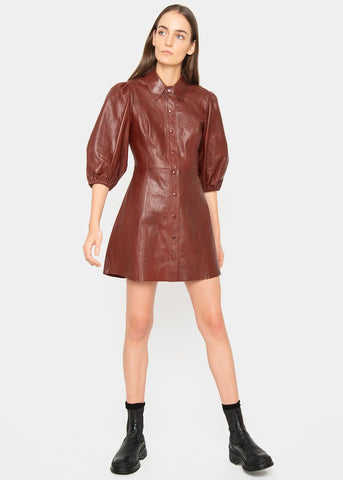 Ganni Balloon Sleeve Leather Mini Dress in Decadent Chocolate DRESS Ganni