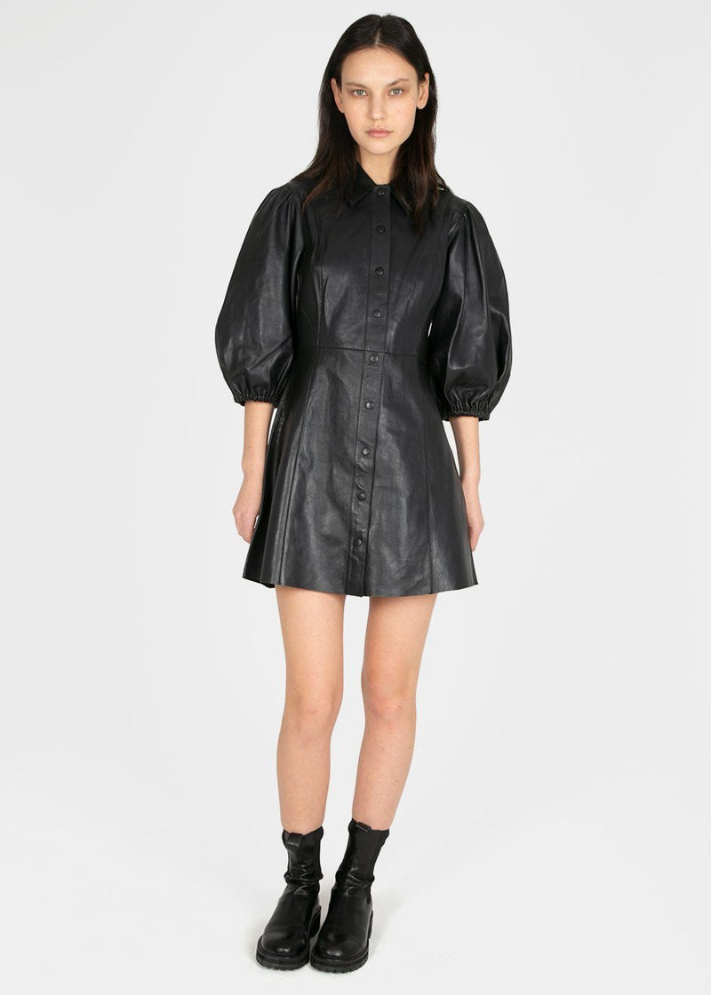 Ganni Balloon Sleeve Leather Mini Dress- Phantom Black Dress Ganni