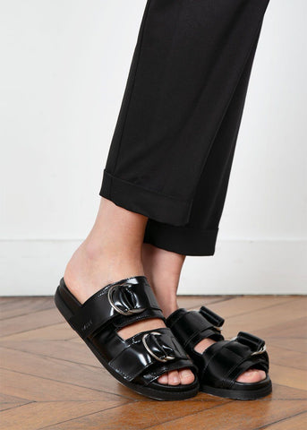 Ganni Black Leather Buckle Slide Sandals Shoes Ganni