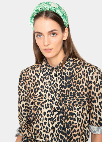 Ganni Button Down Collared Shirt in Leopard Shirt Ganni