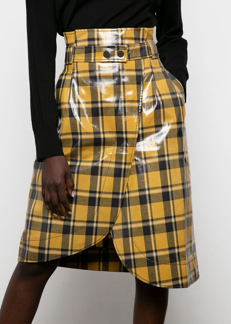 Ganni Coated Twill Skirt- Black & Yellow Plaid Skirt Ganni