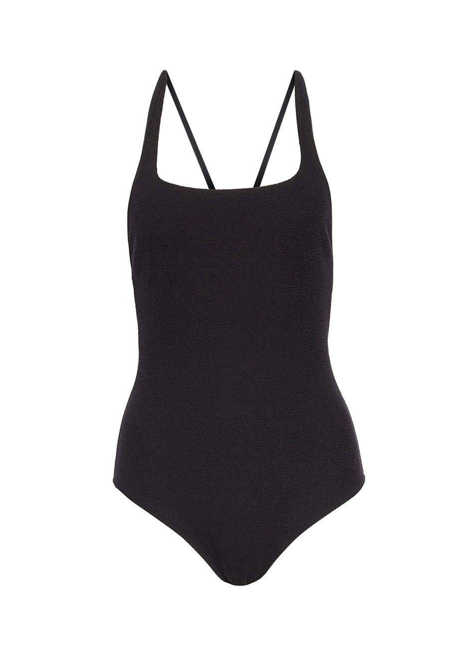 Ganni Crossed Back Textured One Piece Swimsuit in Black