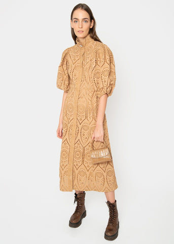 Ganni Eyelet Dress in Tannin Dress Ganni