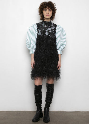 Ganni Feathery Cotton Mini Dress Dress Ganni