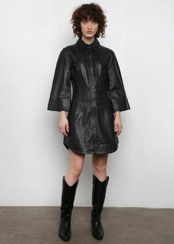 Ganni Flared Sleeve Leather Dress in Black Dress Ganni