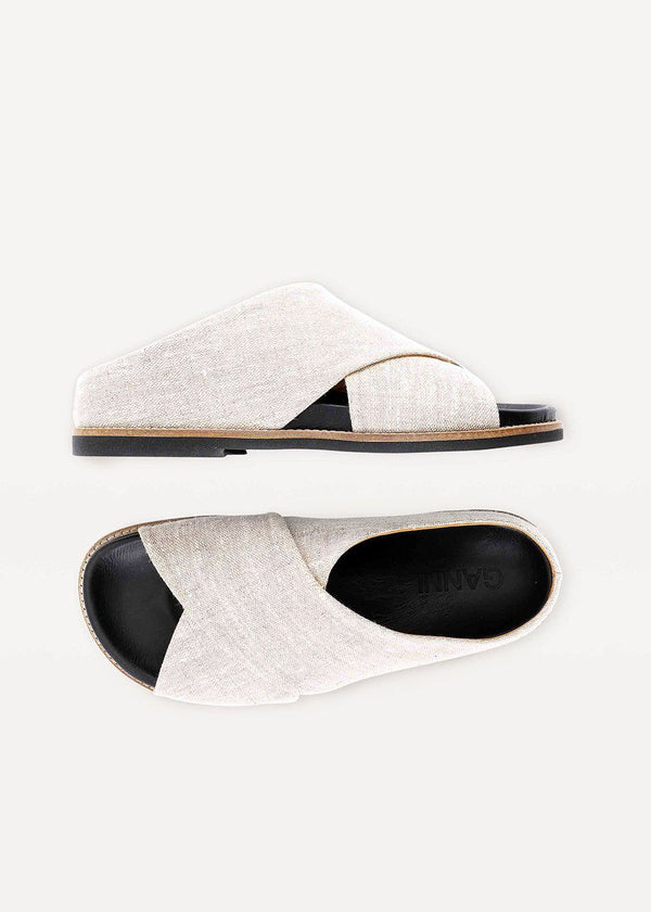 Ganni Flat Criss-Cross Sandals- Nature Shoes Ganni