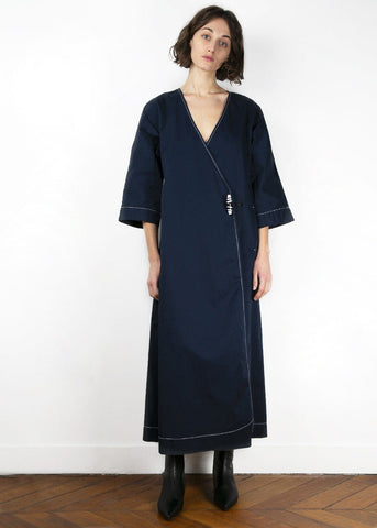 Ganni Hewson Dress in Total Eclipse Coat Ganni