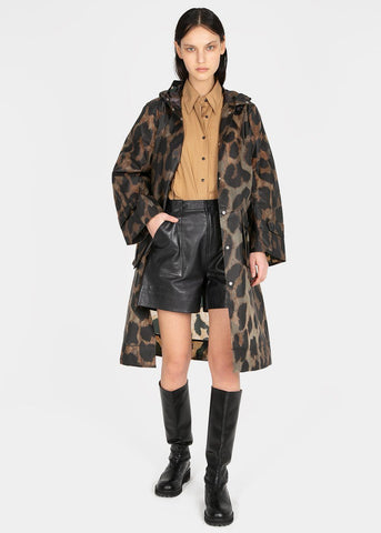 Ganni Hooded Thermoshell Parka- Maxi Leopard Jacket Ganni