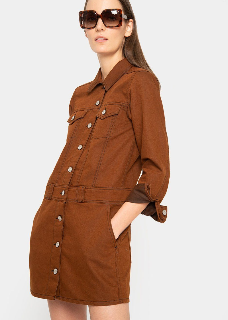 Ganni Mixed Denim Mini Dress in Caramel Cafe DRESS Ganni