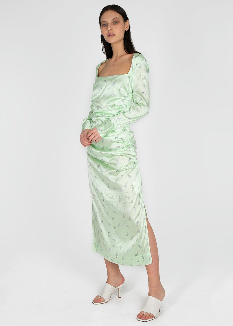 Ganni Silk Stretch Satin Dress- Patina Green Dress Ganni