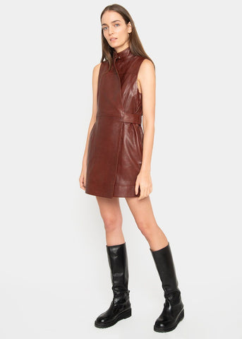 Ganni Sleeveless Wrap Dress in Decadent Chocolate DRESS Ganni