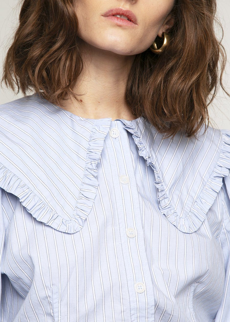 Ganni Striped Frill Collar Shirt- Brunnera Blue shirt Ganni