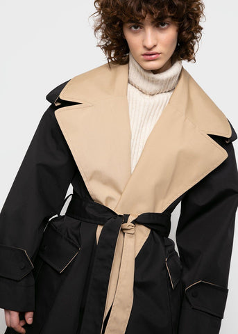 Ganni Two Tone Trench Coat in Black & Beige coat Ganni