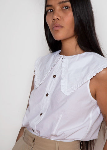 Ganni white large collar sleeveless top Shirt Ganni