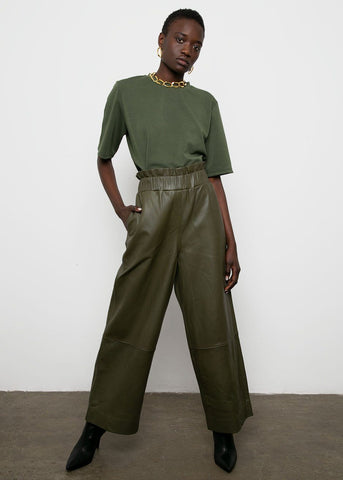 Ganni Wide Leg Leather Pants in Kalamata Pants ganni