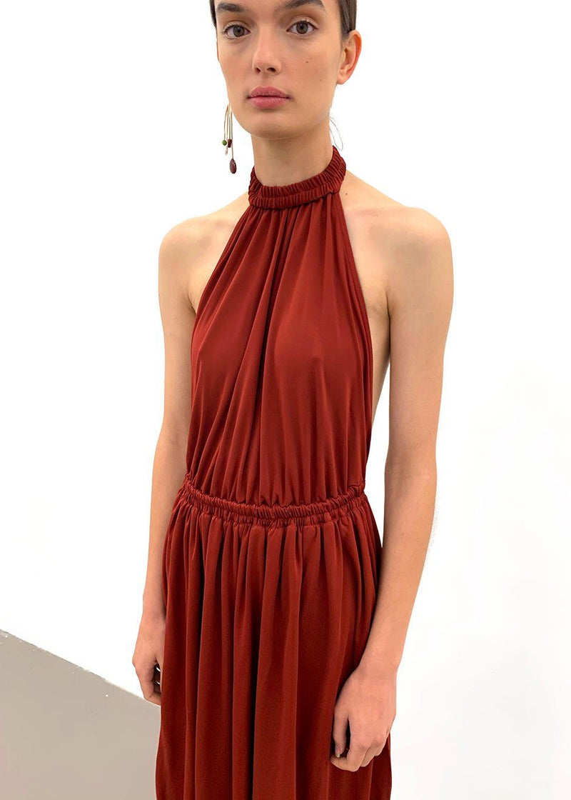 Gathered Jersey Halter Dress by Matteau- Rust Dress Matteau