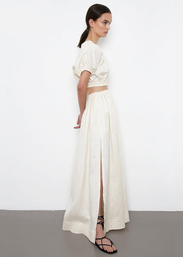Gathered Linen Skirt by Matteau- Ivory Skirt Matteau