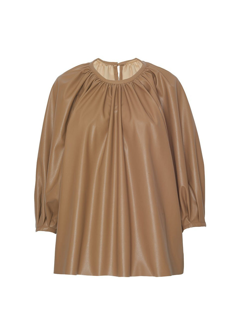 Gathered Neck Faux Leather Top in Camel Top Forming
