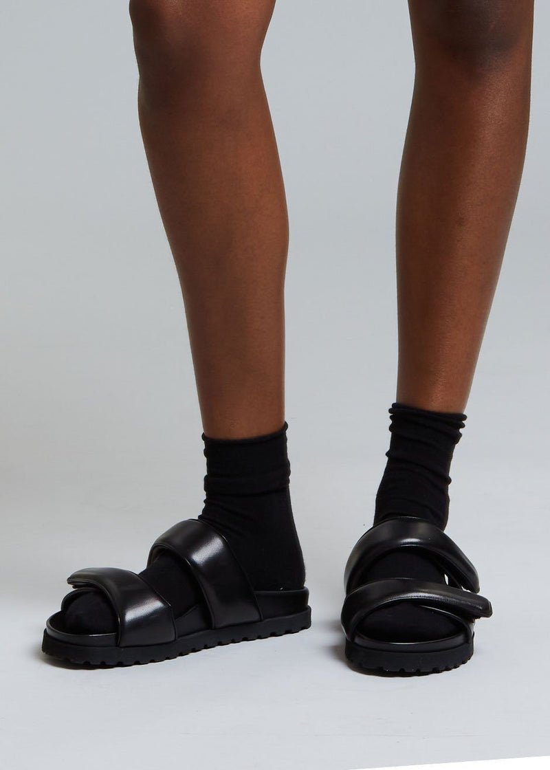 GIA x Pernille Leather Slide Sandals in Black Shoes gia X Pernille Teisbaek