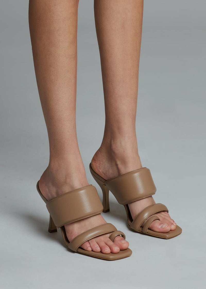 GIA x Pernille Padded Heel Sandals in Nude Brown Shoes gia X Pernille Teisbaek