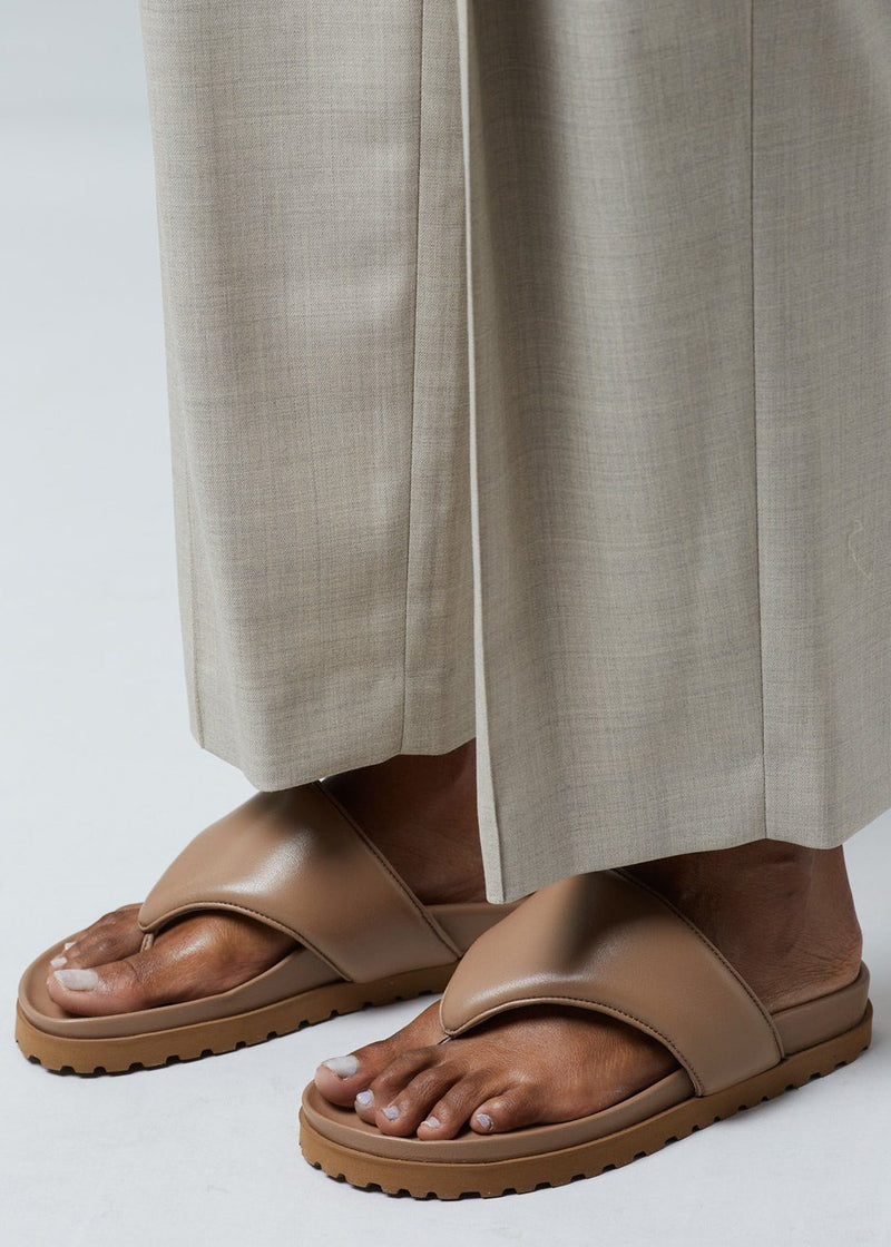 GIA x Pernille Padded Thong Sandals in Nude Brown Shoes gia X Pernille Teisbaek