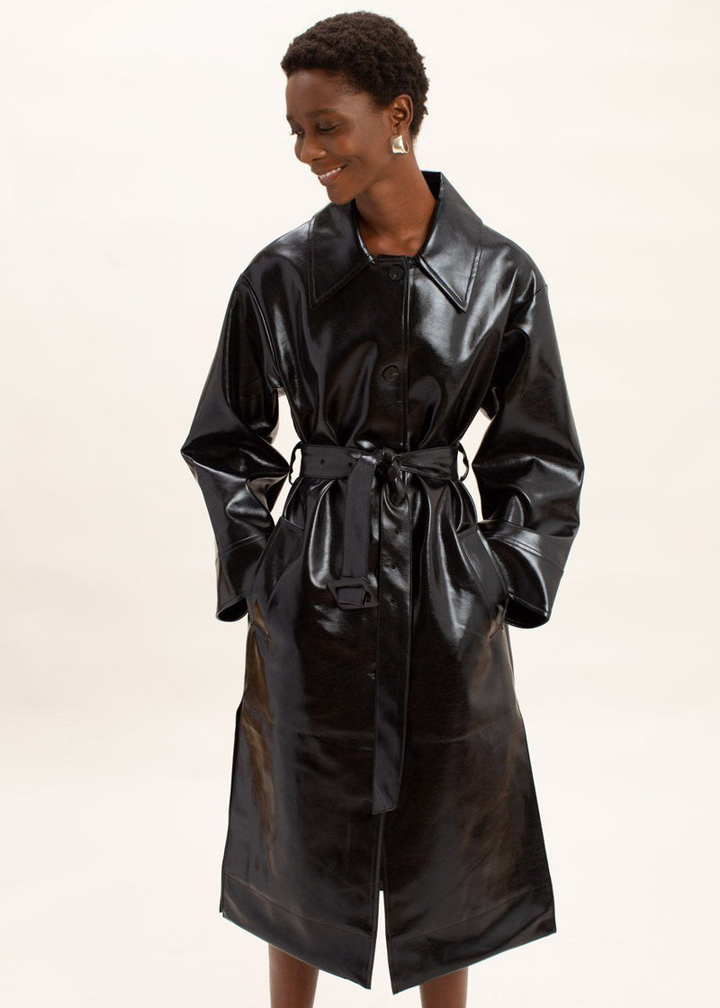 Glossy Patent Faux Leather Belted Coat in Black Coat The Frankie Shop